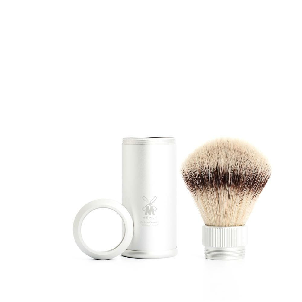Muehle Vegan Fibre Travel Shaving Brush - Silver &Keep
