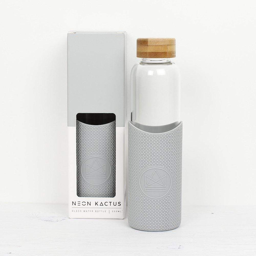 Neon Kactus Reusable Glass Bottle 550ml - Cloud 9 (Grey) &Keep