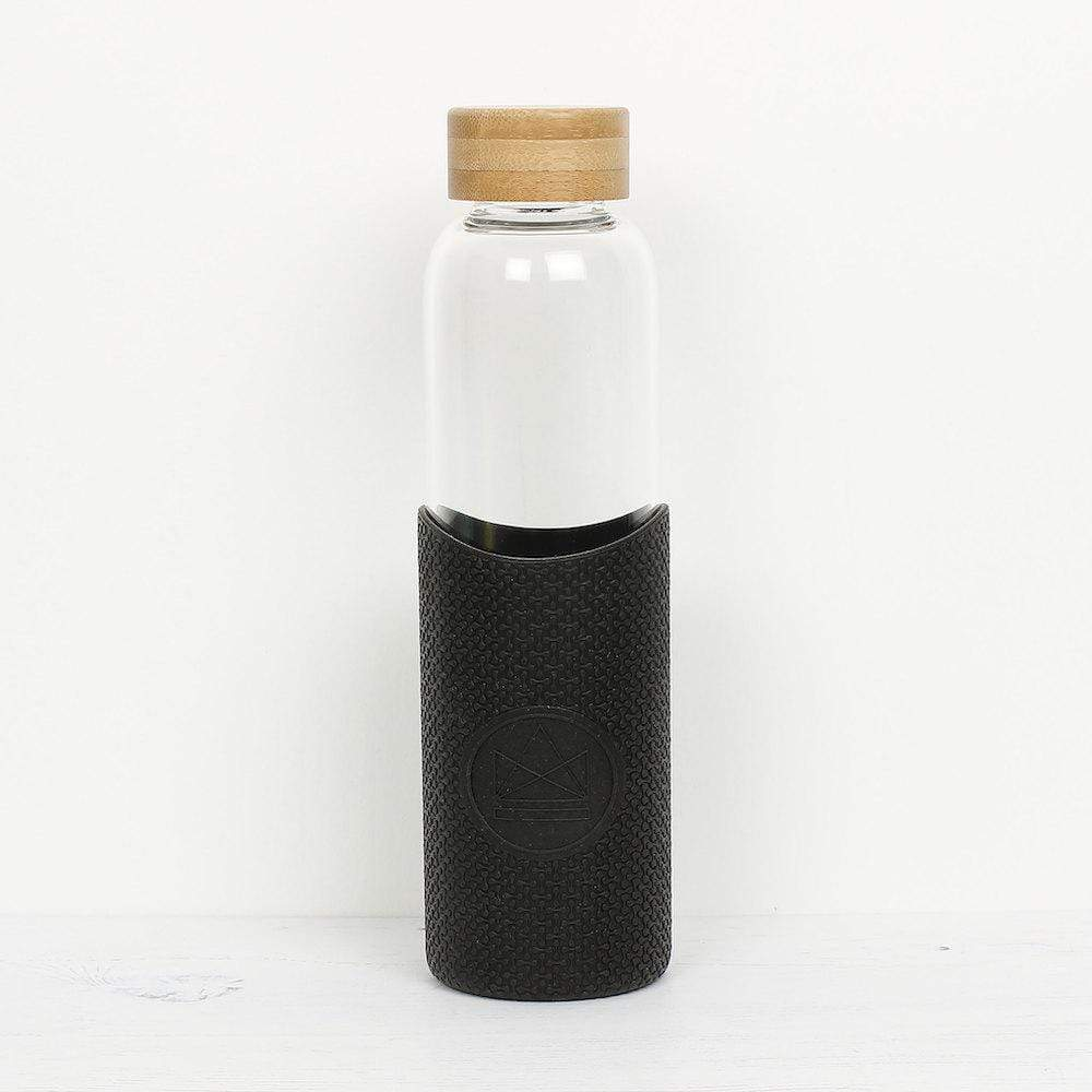 Neon Kactus Reusable Glass Bottle 550ml - Feel The Beat (Black) &Keep