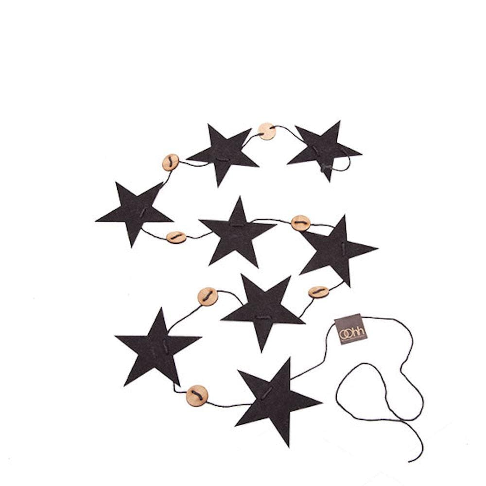 String of Recycled Eco Felt Stars Black Lubech Living Oohh &Keep