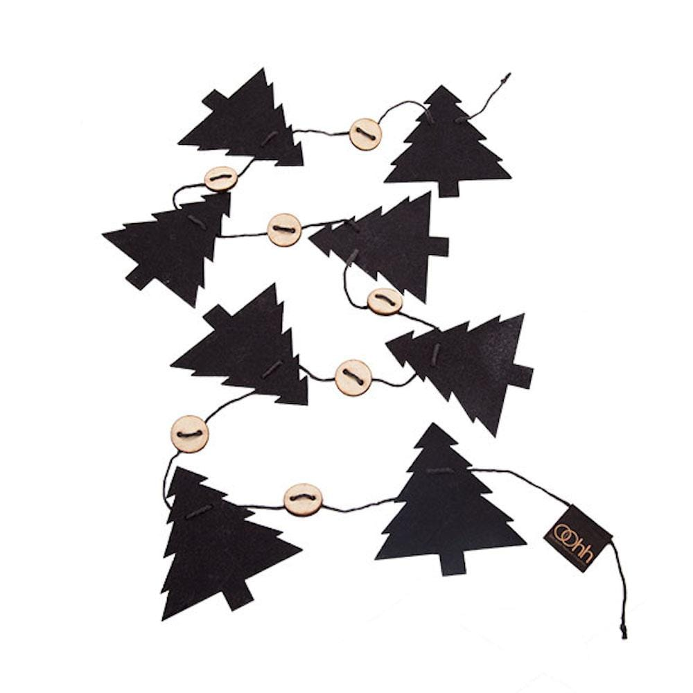 String of Recycled Eco Felt Trees Black Lubech Living Oohh &Keep