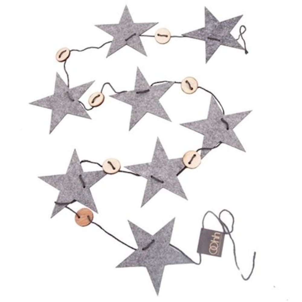 String of Recycled Eco Felt Stars Dark Grey Lubech Living Oohh &Keep