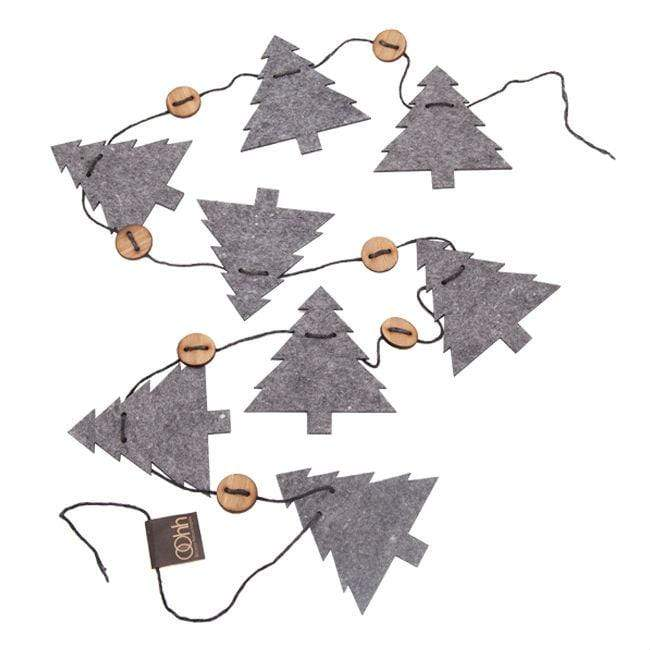 String of Recycled Eco Felt Trees Dark Grey Lubech Living Oohh &Keep