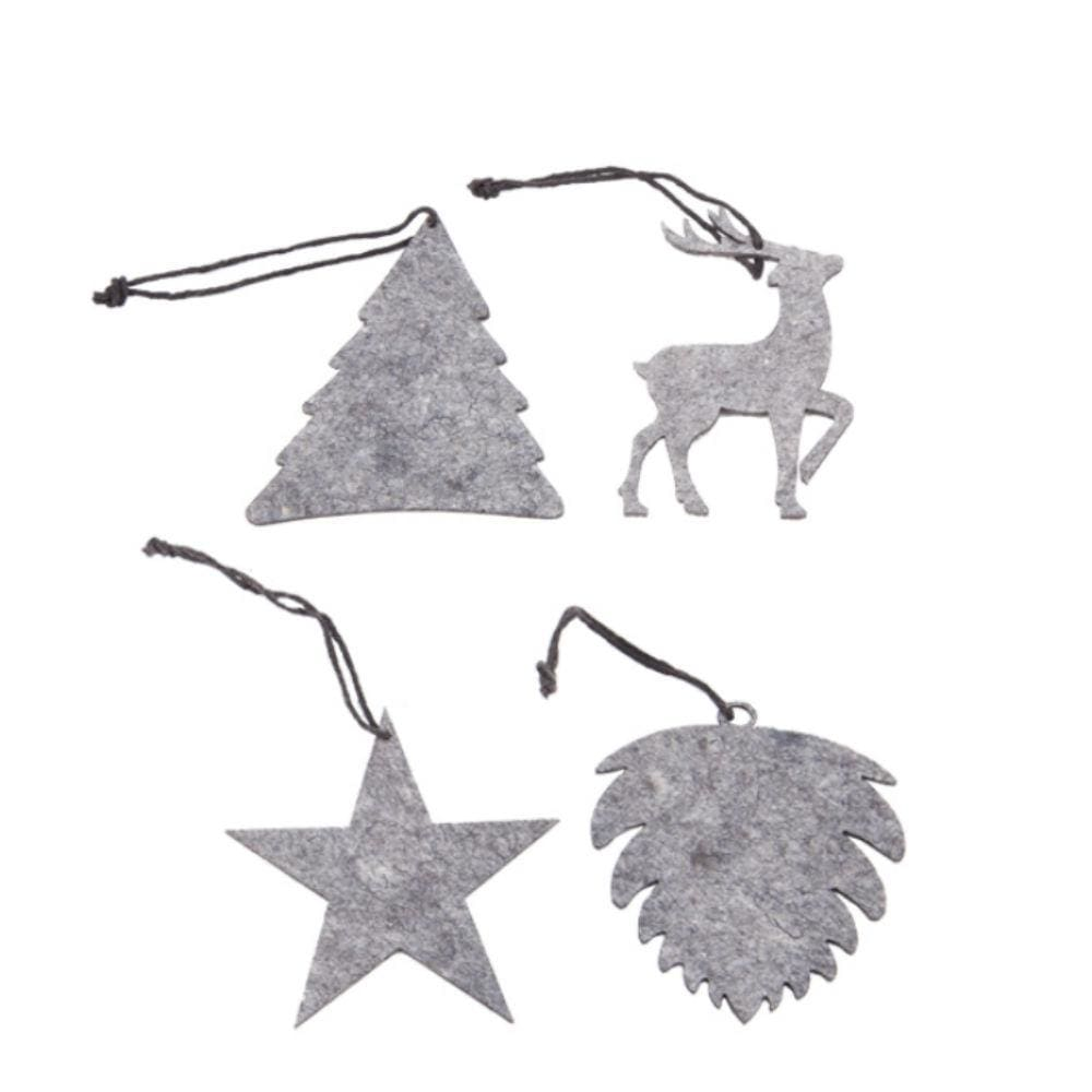 Oohh Envelope Of 8 Eco Felt Hanging Forest Ornaments - Grey &keep
