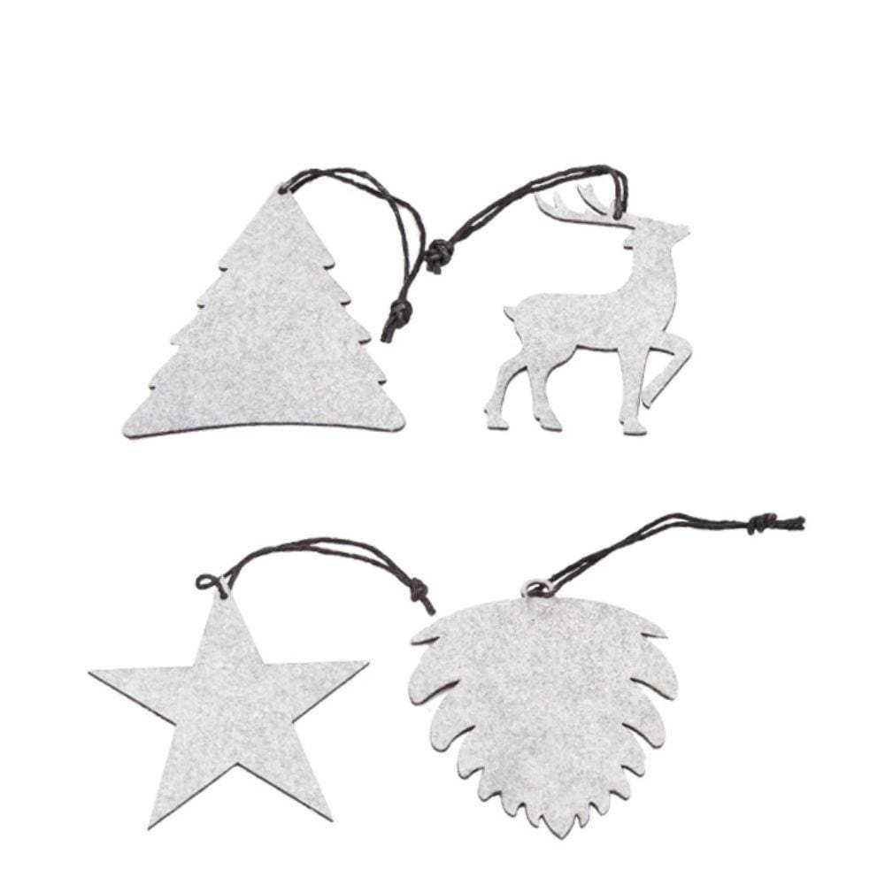 Oohh Envelope Of 8 Eco Felt Hanging Forest Ornaments - Light Grey &keep