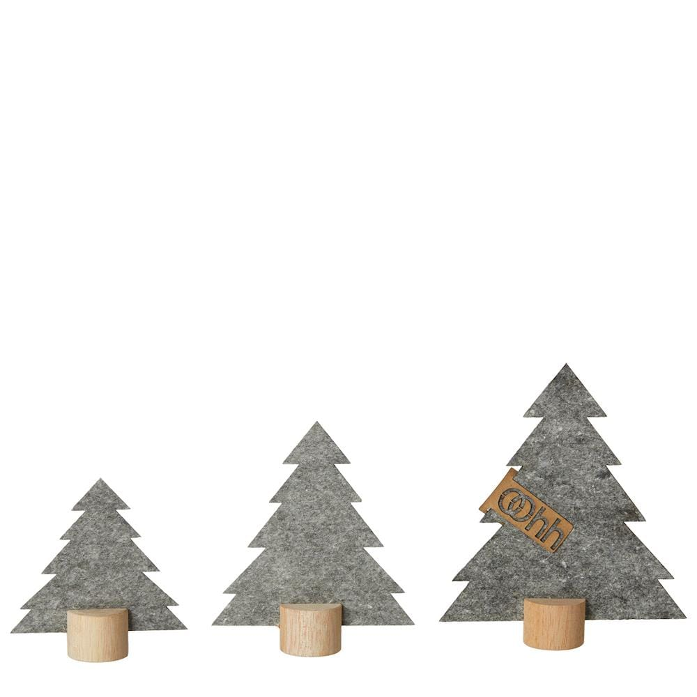 Standing Christmas Trees Eco Felt Set of 3 in Dark Grey Lubech Living Oohh &Keep