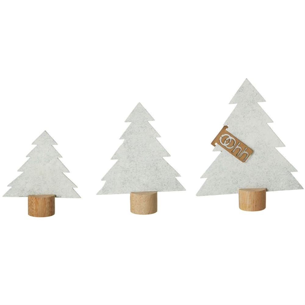 Oohh Standing Christmas Trees Eco Felt Set Of 3 In White &Keep