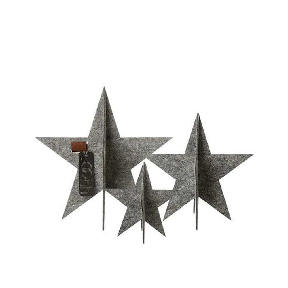 Standing Stars Eco Felt Set of 3 in Dark Grey Recycled plastic sustainable Christmas &Keep
