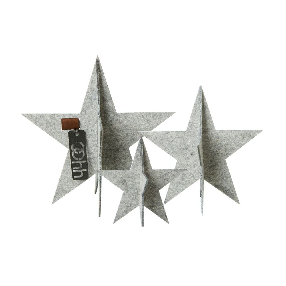 Oohh Standing Stars Eco Felt Set Of 3 In Light Grey &keep