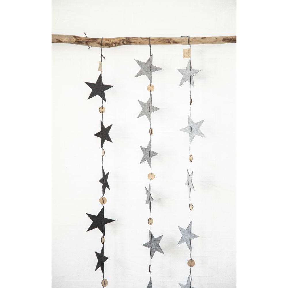 String of Recycled Eco Felt Stars Lubech Living Oohh &Keep