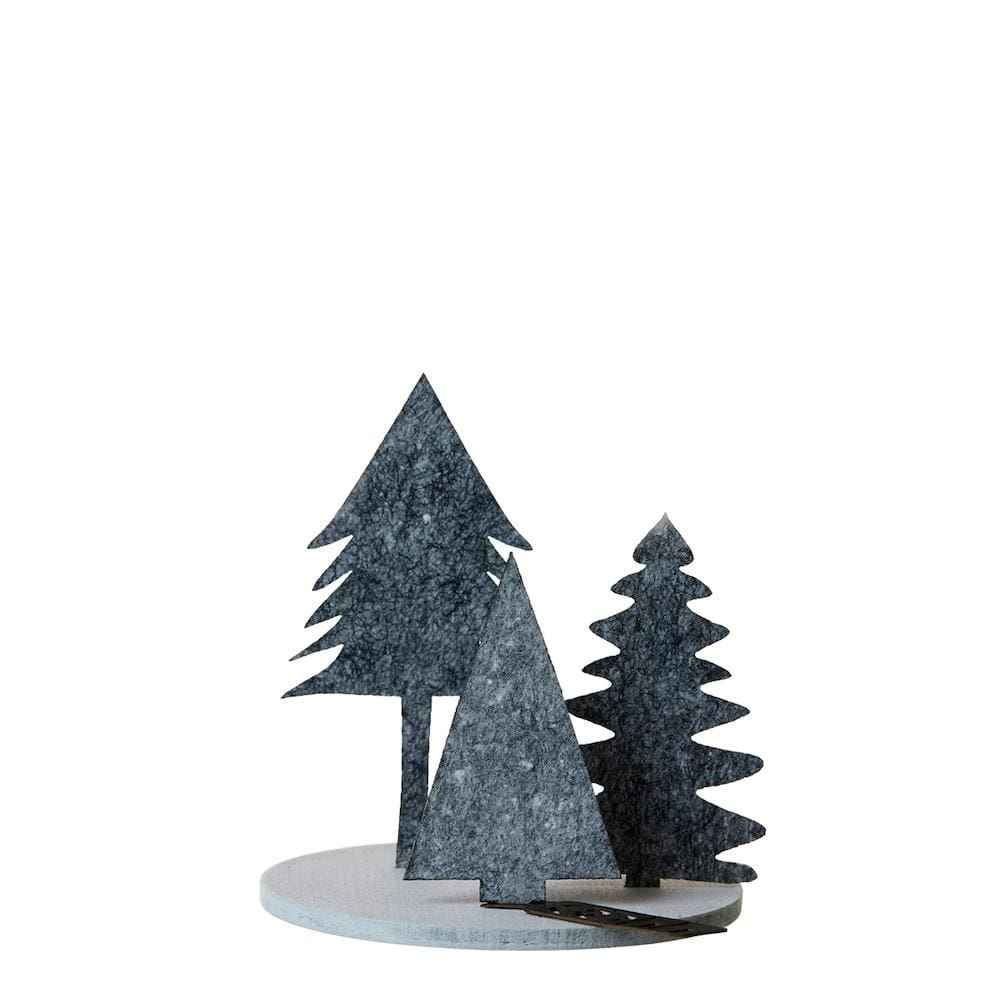 Trio of Eco Felt Christmas Trees on Wood Base - Dark Grey Lubech Living Oooh &Keep