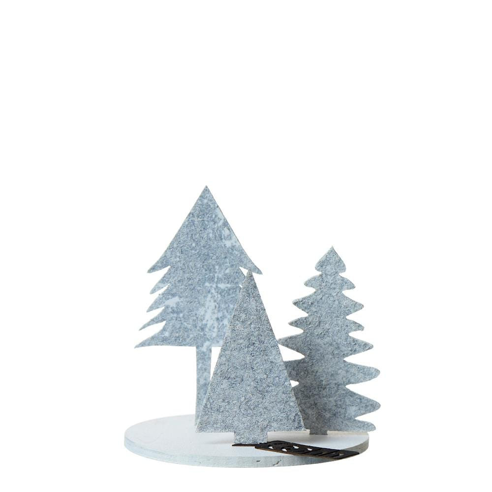 Trio of Eco Felt Christmas Trees on Wood Base - Light Grey Lubech Living Oohh &Keep