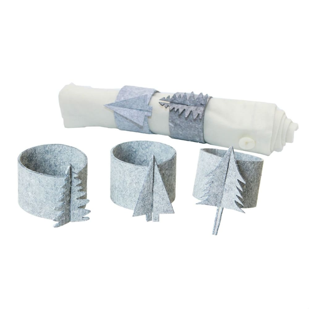 Oohh 12 Light Grey Eco Felt Christmas Napkin Rings &keep