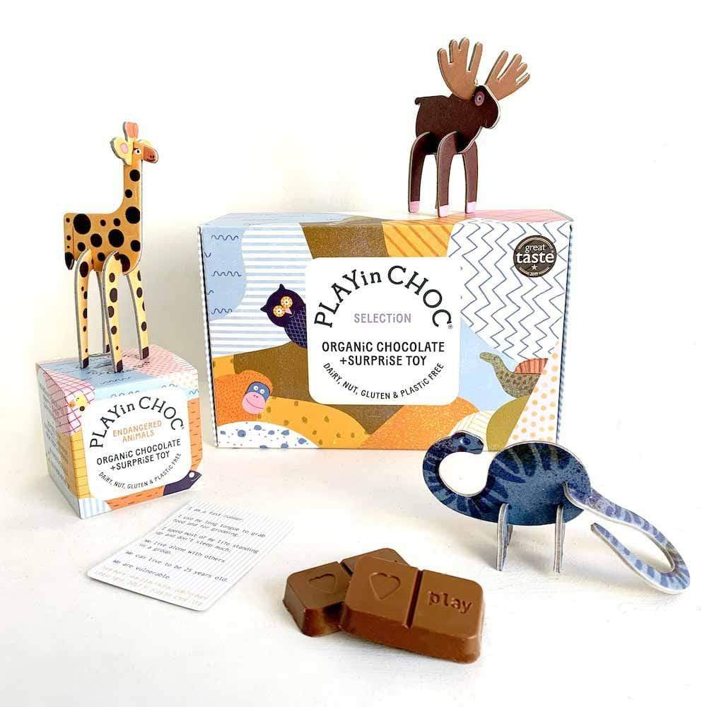 PLAYin Choc Vegan Organic Chocolate & Surprise Toy - 6 Box Selection &Keep