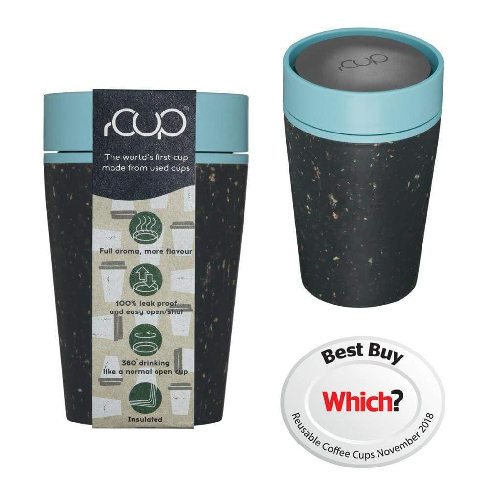 rCUP rCUP Recycled Coffee Cup 8oz (227ml) - Black & Teal &Keep
