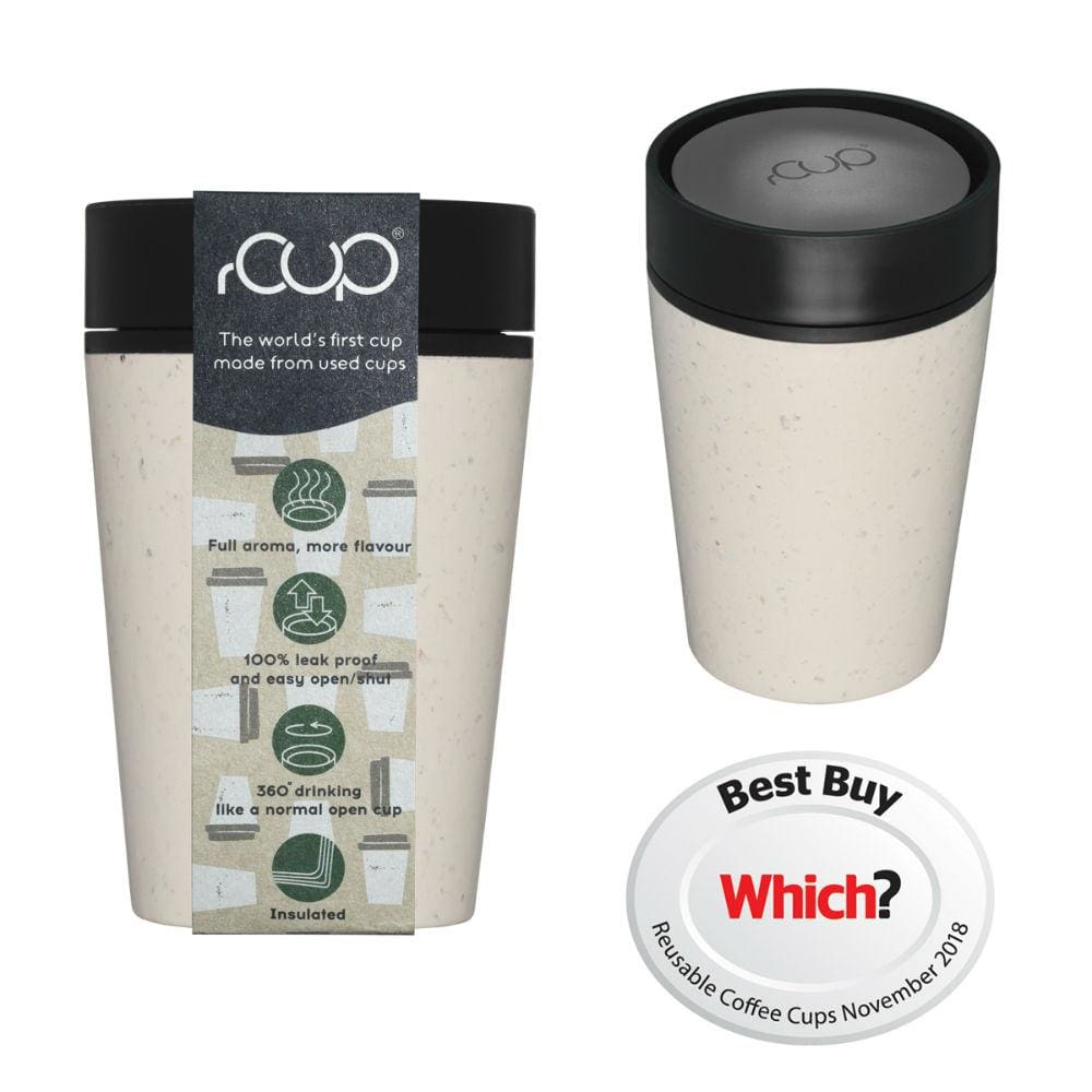 rCUP rCUP Recycled Coffee Cup 8oz (227ml) - Cream & Black &Keep