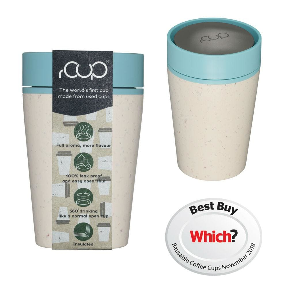 rCUP rCUP Recycled Coffee Cup 8oz (227ml) - Cream & Teal &Keep