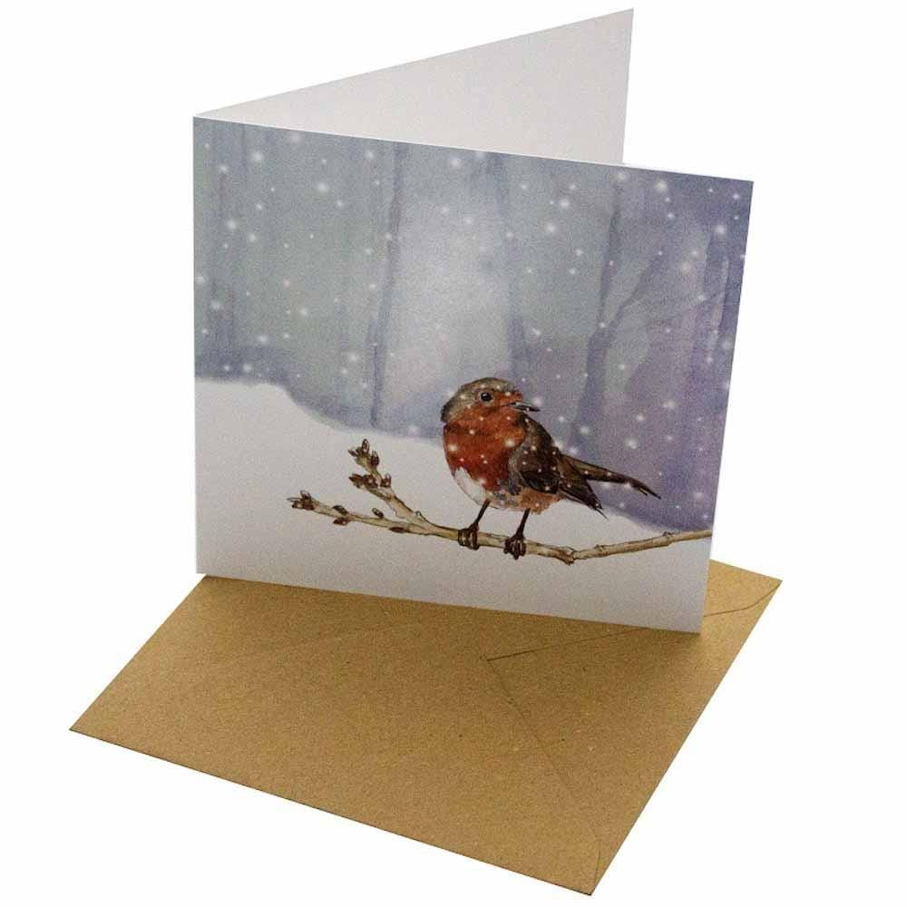 Christmas Robin - Recycled Greetings Card
