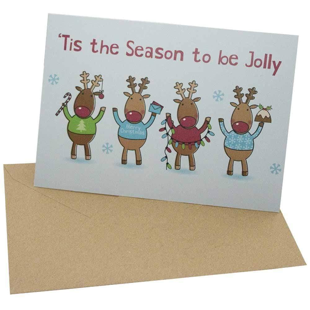 Jolly Reindeer - Recycled Greetings Card Re-Wrapped &Keep