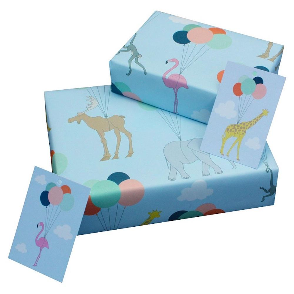 Eco Friendly Recycled Wrapping Paper & Gift Tag - Animals & Balloons &Keep