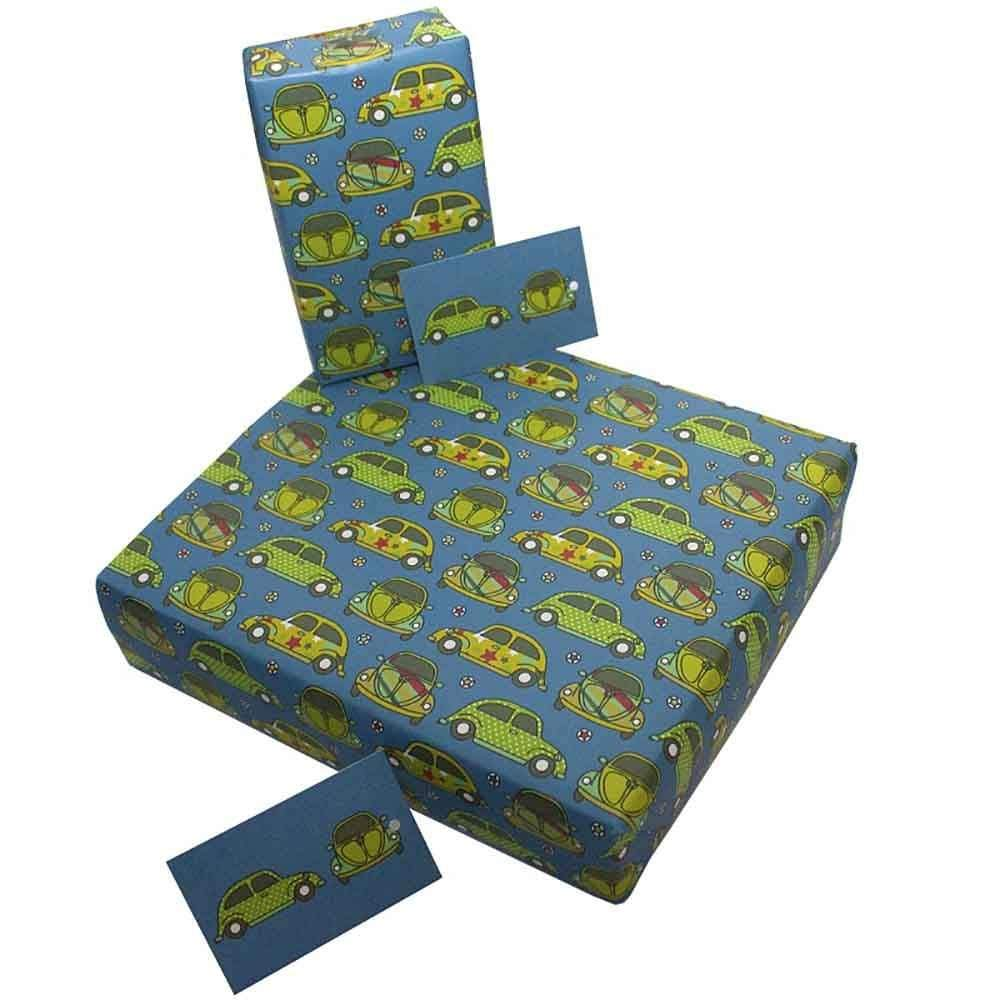 Eco Friendly Recycled Wrapping Paper & Gift Tag - Beetle Cars Re-Wrapped &Keep