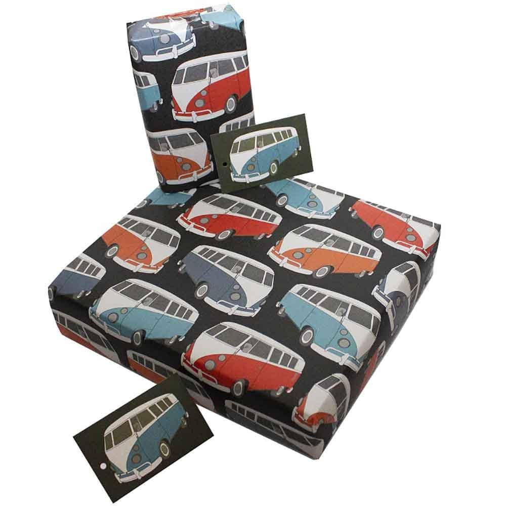 Eco Friendly Recycled Wrapping Paper & Gift Tag - Campervans Re-wrapped &Keep