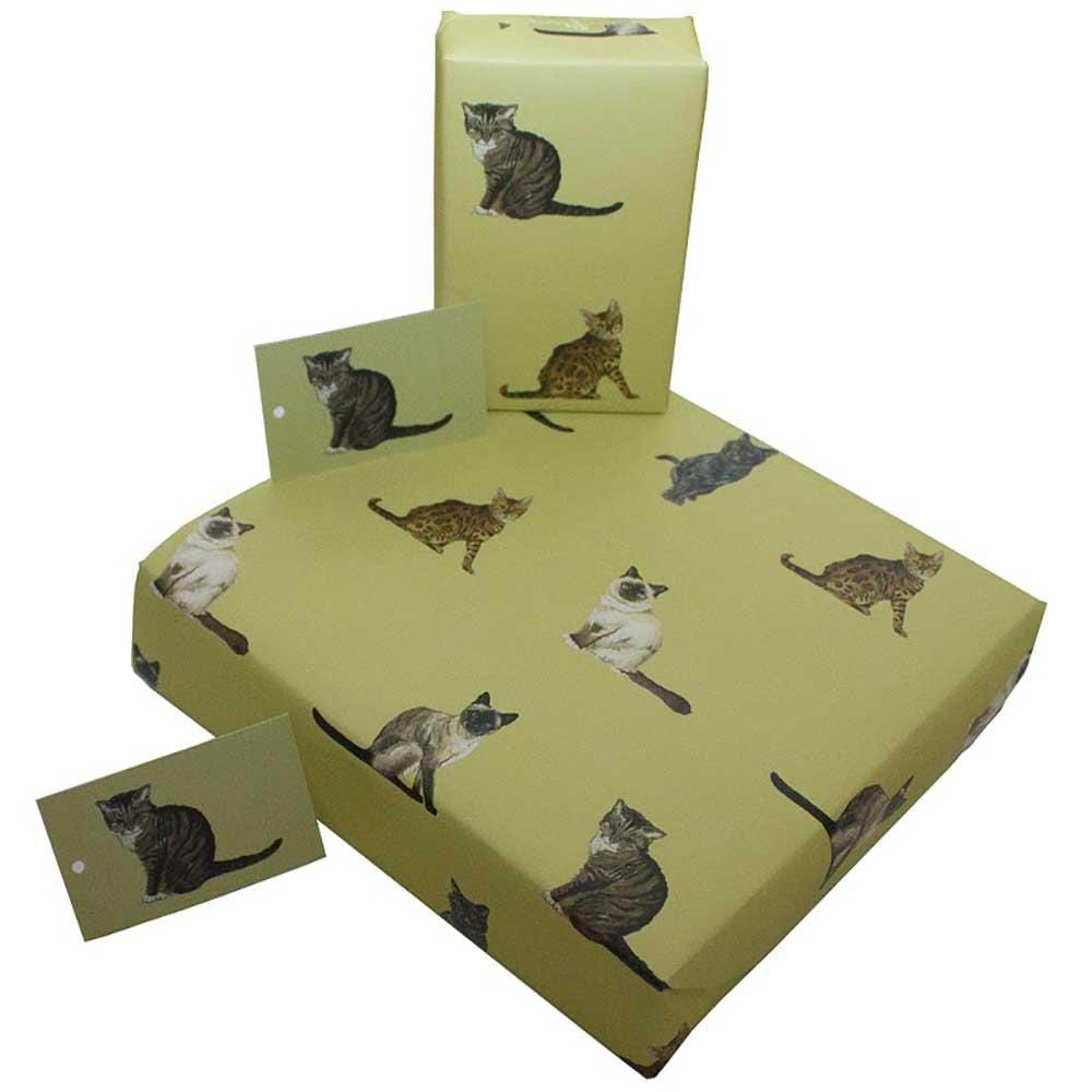 Eco Friendly Recycled Wrapping Paper & Gift Tag - Cats Re-Wrapped &Keep