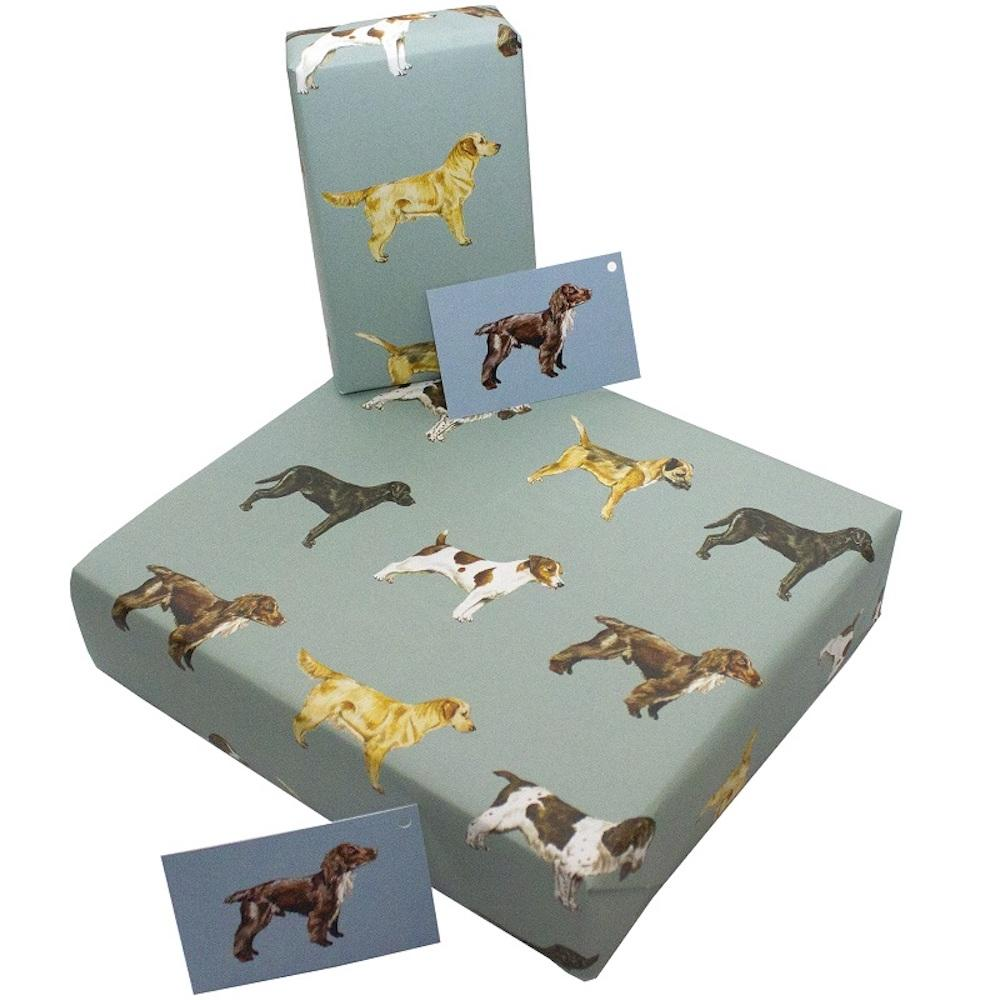Eco Friendly Recycled Wrapping Paper & Gift Tag - Dogs &Keep