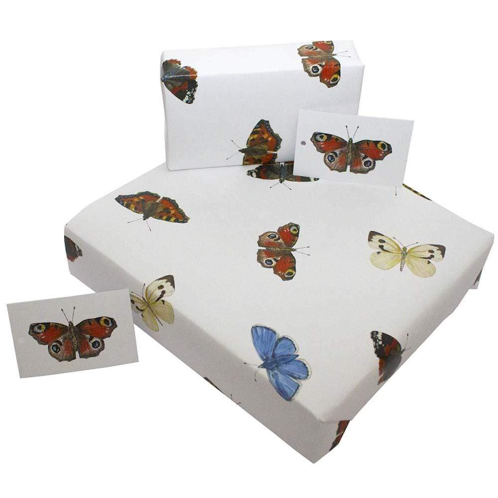 Eco Friendly Recycled Wrapping Paper & Gift Tag - English Butterflies &Keep
