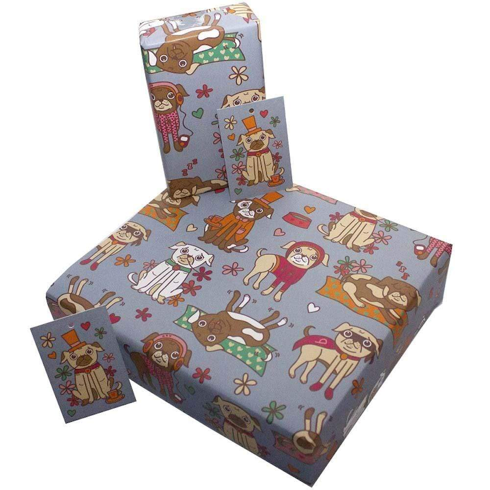Eco Friendly Recycled Wrapping Paper & Gift Tag - Pugs &keep