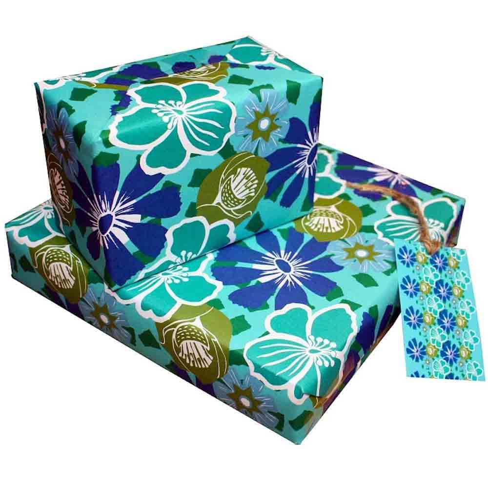 Eco Friendly Recycled Wrapping Paper & Gift Tag - Tropical &Keep