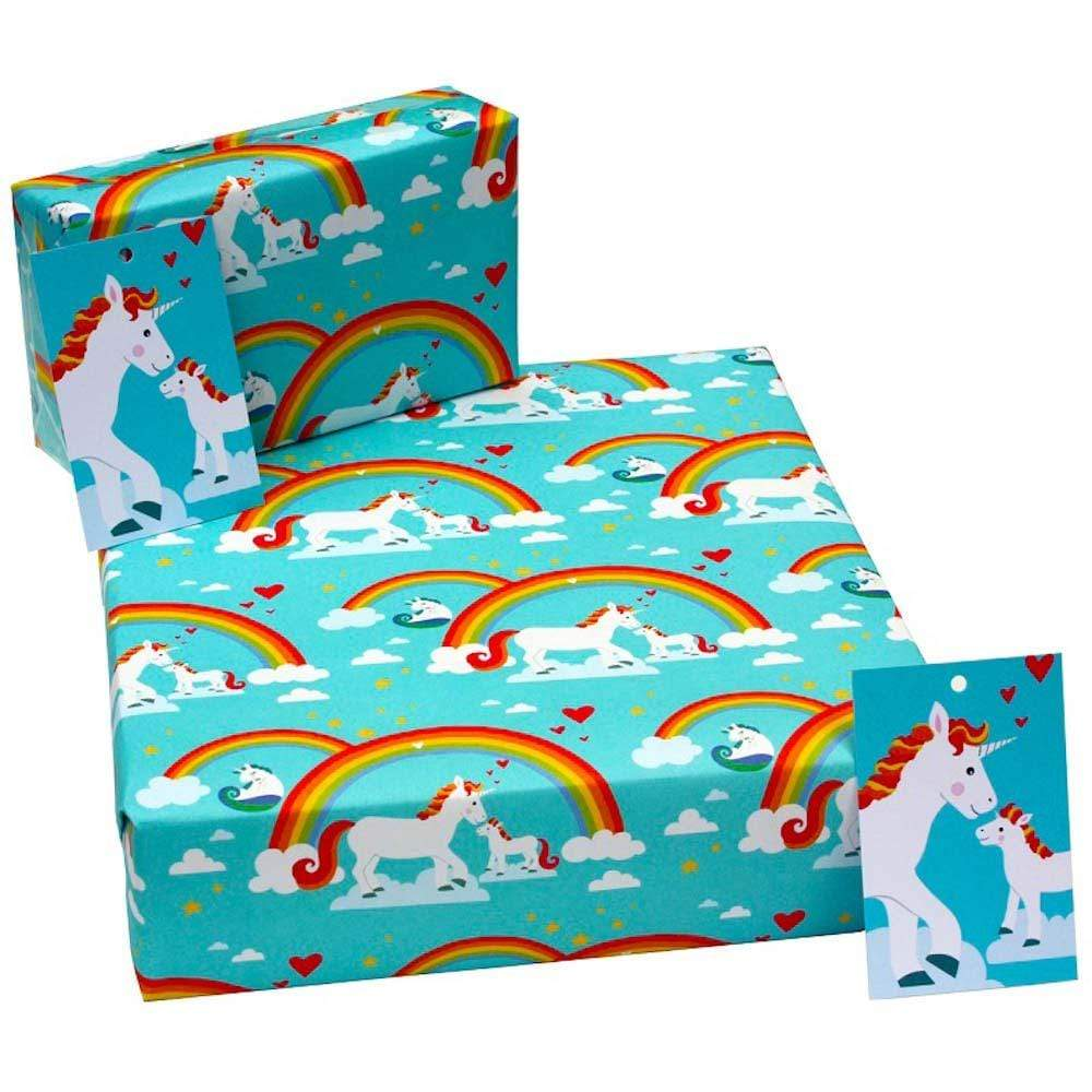 Eco Friendly Recycled Wrapping Paper & Gift Tag - Unicorns &keep
