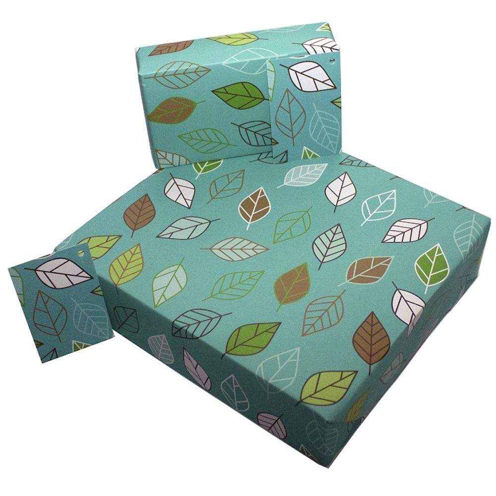 Eco Friendly Recycled Wrapping Paper & Gift Tag - Vintage Retro Leaves &Keep