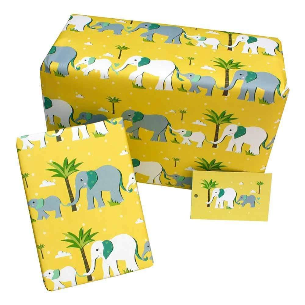 Eco Friendly Recycled Wrapping Paper & Gift Tag - Yellow Elephants Re-wrapped &Keep