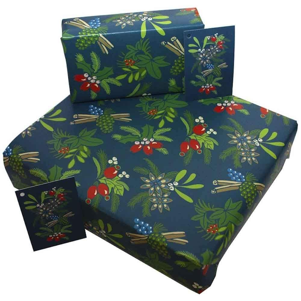 Recycled Wrapping Paper & Gift Tag - Christmas Cinnamon & Berries Re-wrapped &Keep