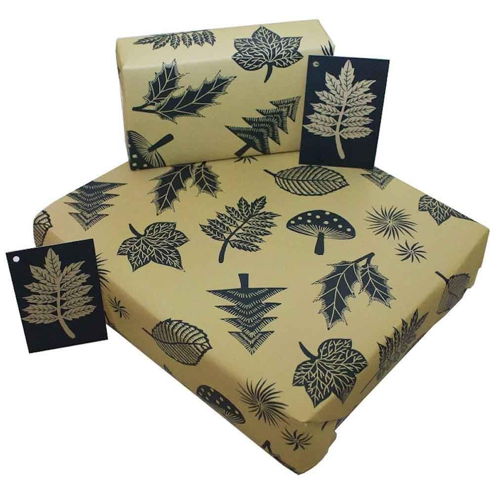 Recycled Wrapping Paper & Gift Tag - Christmas Linocuts &Keep