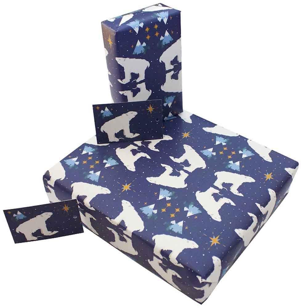 Recycled Wrapping Paper & Gift Tag - Christmas Polar Bears Re-Wrapped &keep