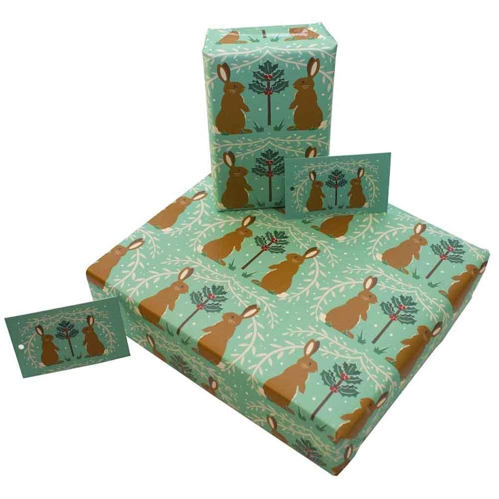 Recycled Wrapping Paper & Gift Tag - Christmas Rabbits Re-wrapped &Keep