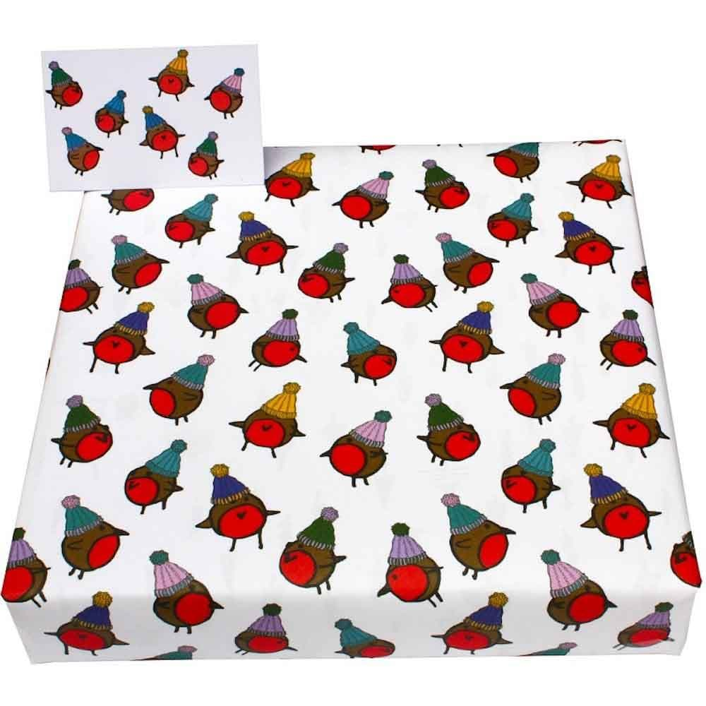 Recycled Wrapping Paper & Gift Tag - Christmas Robins in Hats
