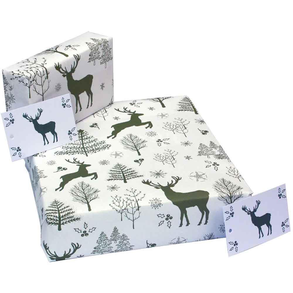 Recycled Wrapping Paper & Gift Tag - Christmas Scandi Deer Re-wrapped &Keep