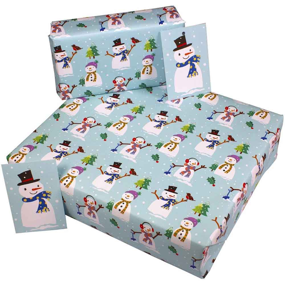 Recycled Wrapping Paper & Gift Tag - Christmas Snowmen
