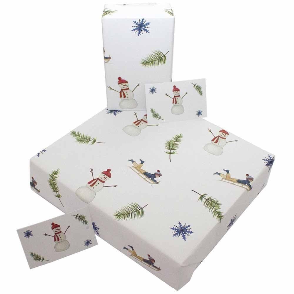 Recycled Wrapping Paper & Gift Tag - Christmas Snowmen & Sleighs Re-wrapped &Keep