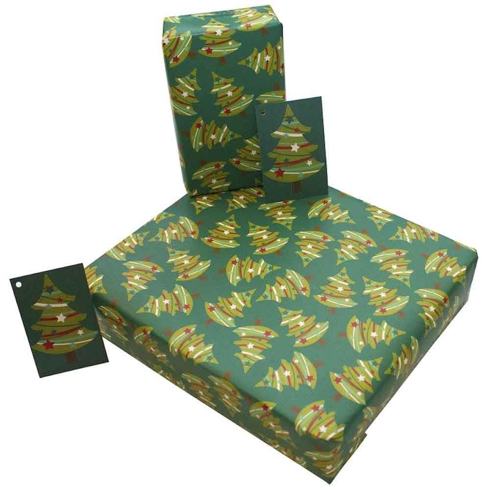 Recycled Wrapping Paper & Gift Tag - Christmas Trees Re-Wrapped &Keep