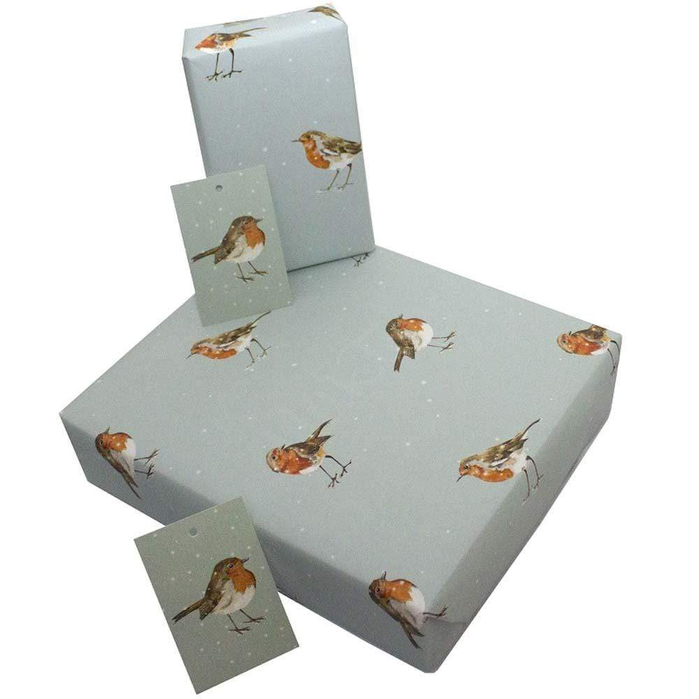 Recycled Wrapping Paper & Gift Tag - Christmas Winter Robins Re-wrapped &Keep