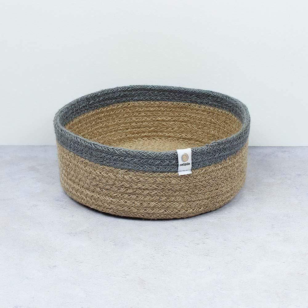 Respiin Shallow Jute Basket - Medium Natural/Grey &Keep