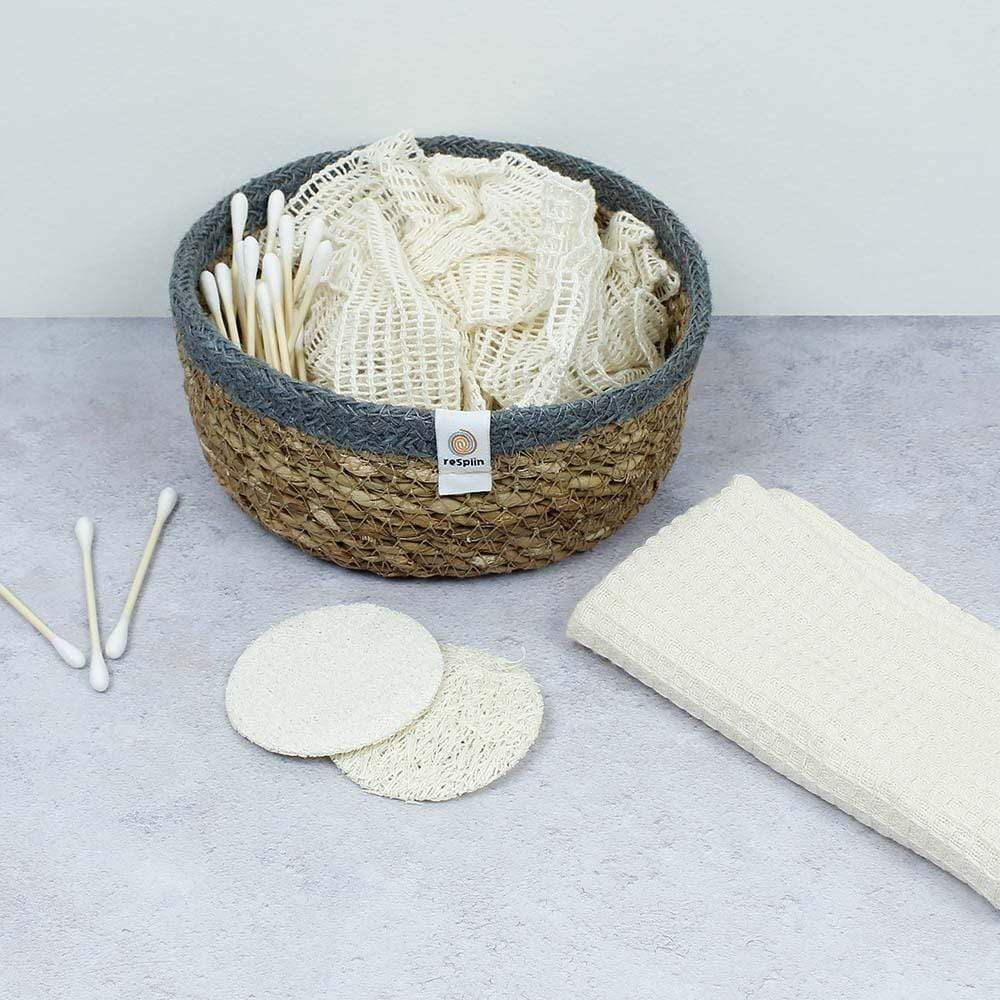 Respiin Shallow Seagrass & Jute Basket - Small Natural/Grey &Keep