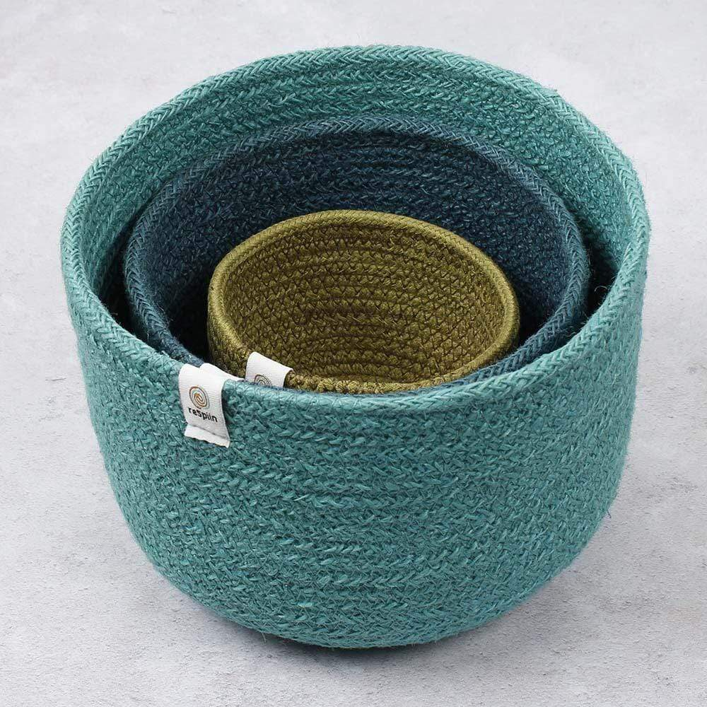 Respiin Tall Jute Basket Set - Ocean &Keep