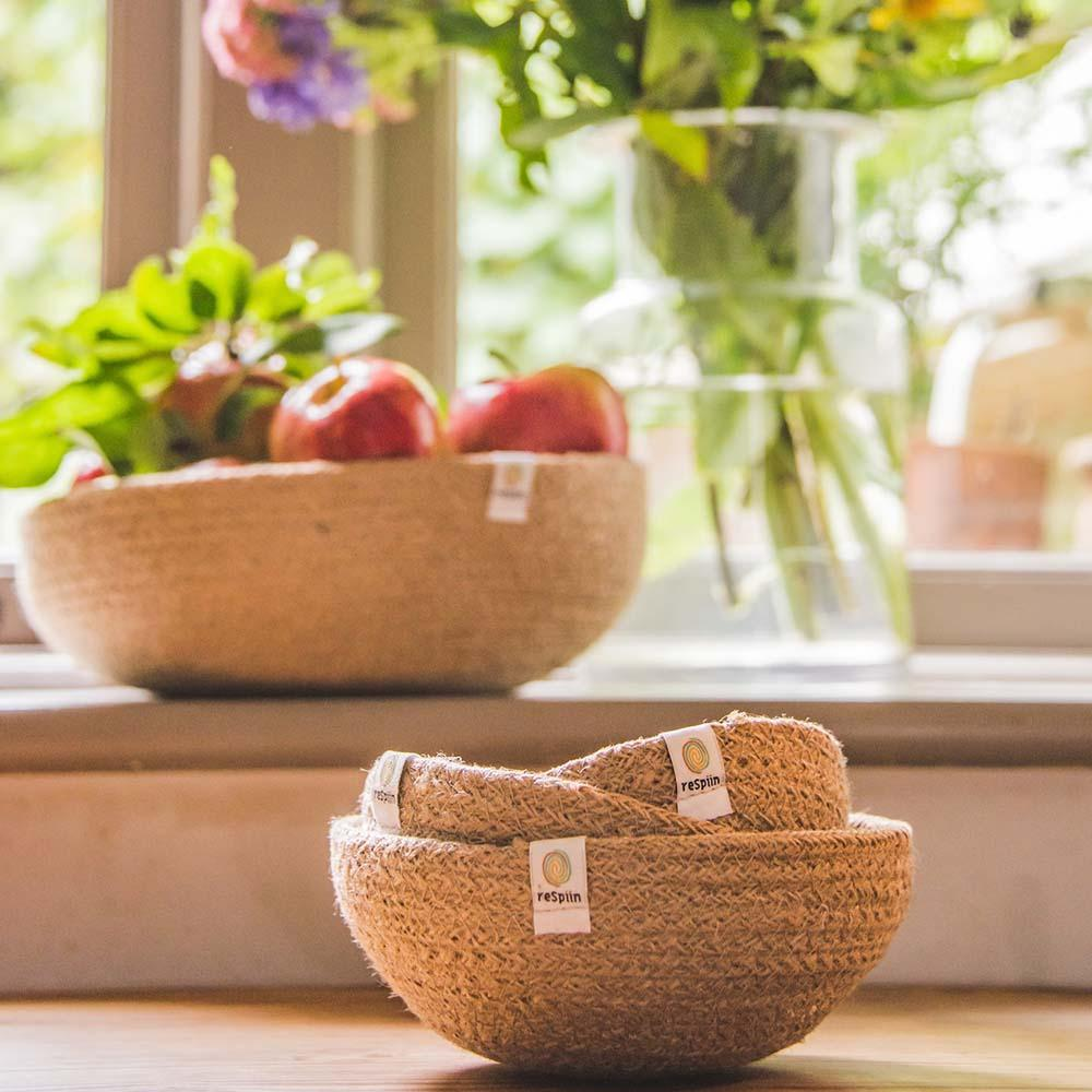 Respiin Jute Mini Bowl Set - Natural &Keep