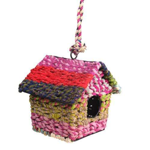 Recycled Fabric Square Birdhouse Shared Earth &Keep