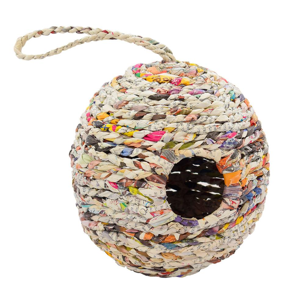 Recycled Newspaper Oval Birdhouse &Keep